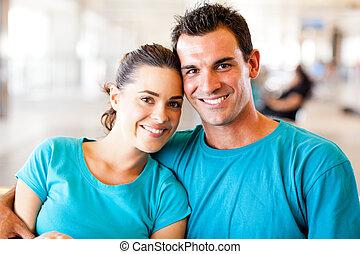 amoroso, pareja joven, retrato