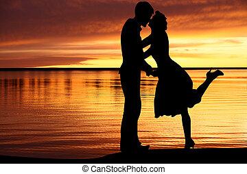 amoroso, playa, meridional, pareja
