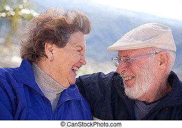 Amorous Senior Adult Couple - Happy Senior Adult Couple...