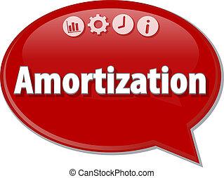 Amortization Business term speech bubble illustration