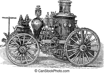 Amoskeag Steam-powered Fire Engine, vintage engraving. Old engraved illustration of Amoskeag Steam-powered Fire Engine.
