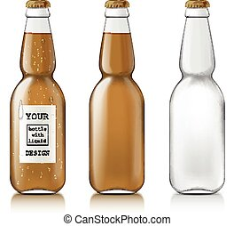 amostra, garrafas, vazio, cerveja
