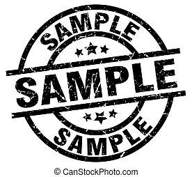 amostra, grunge, pretas, redondo, selo