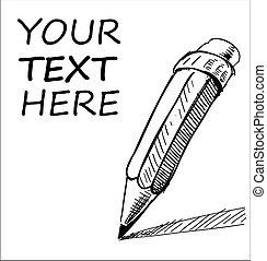 amostra, lápis, texto