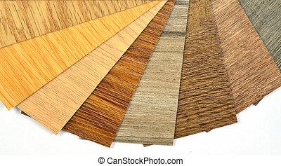 amostras, de, vinil, e, laminate, madeira, padrão