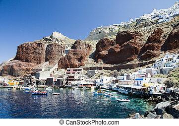 amoudi, porto, onder, oia, caldera, in, santorini, griek...