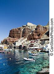 amoudi, sziget, oia, öböl, görög, santorini