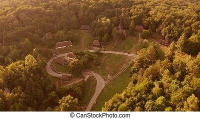 amoung, petit, moyen-âge, village, rustique, forest.
