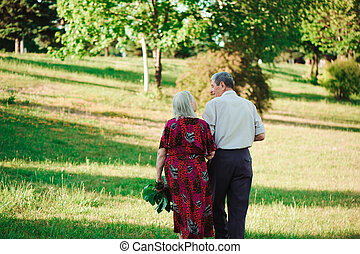 amour, âge, parc, promenade, tenant mains, summer., couple
