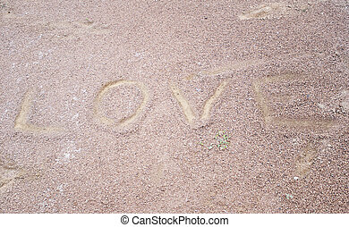 amour, écrit, dans, sable