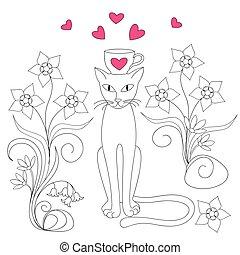 amour, élégance, chat
