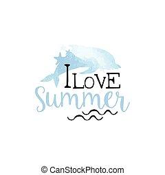 amour été, aquarelle, étiquette, stylisé, message
