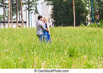 amour été, concept., jeune, park., couple, heureux