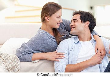 amour, étreindre, couple