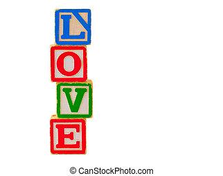 amour, 3, blocs, lettre