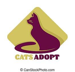 amour, abri, isolé, chats, adoption, animal, icône, soin
