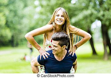 amour, accouplez dehors, amusement, avoir, heureux