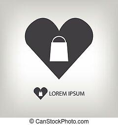 amour, achats, logo