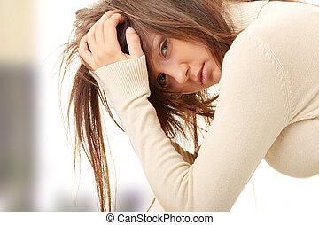 amour adolescent, perdu, -, girl, dépression