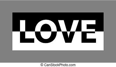 amour, affiche, carte postale, t-shirt, etc, habillement, monochrome, graphiques, slogan, impression