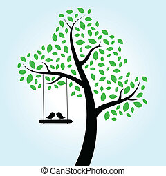 amour, arbre, oiseaux