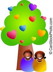 amour, arbre, sous
