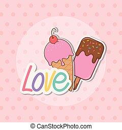 amour, autocollants, délicieux, glace