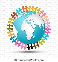 amour, autour de, gens, globe, paix, -, tenant mains