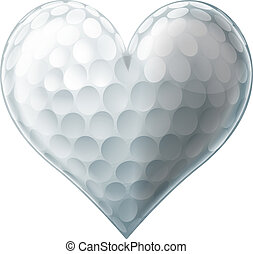 amour, balle, golf, coeur