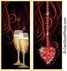 amour, bannières, champagne