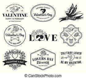 amour, blanc, valentines, noir