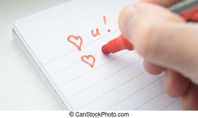 amour, bloc-notes, écriture, u, fond, marqueur, vous, main, blanc rouge