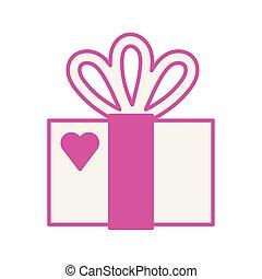 amour, boîte-cadeau, présent, coeur