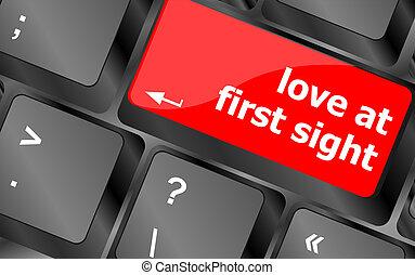 amour, bouton, vue, clef informatique, clavier, premier
