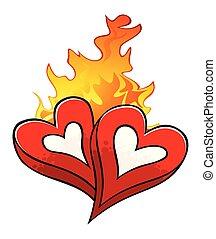amour, brûler, sur, isolé, chaud, bien-aimé, cœurs, blanc