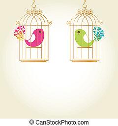 amour, cage d'oiseaux, mignon, oiseaux