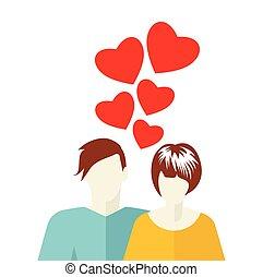 amour, carte, gabarit