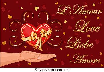 amour, carte, -, salutation, vous