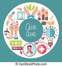 amour, centre, donner, fonds, donation, sanguine, charité