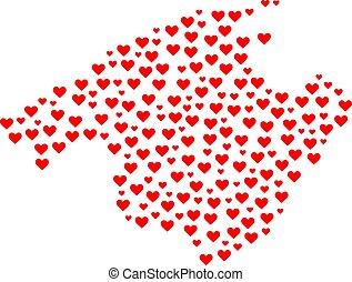 amour, collage, carte, de, majorque