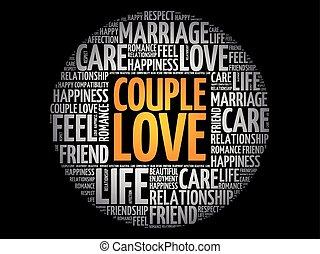 amour, collage, couple, mot, cercle, nuage