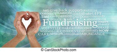amour, collecte fonds, campagne, mot, nuage, donner