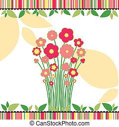 amour, coloré, salutation, printemps, fleurs, carte