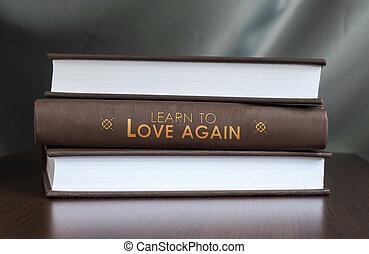 amour, concept., livre, again., apprendre