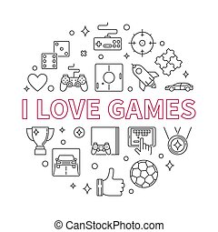 amour, contour, illustration, vecteur, jeux, rond