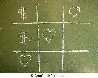 amour, contre, argent, morpion, gagner
