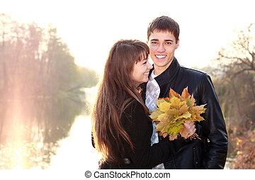 amour, couple, avoir, clair, backlit, amusement, sourire, jour, heureux