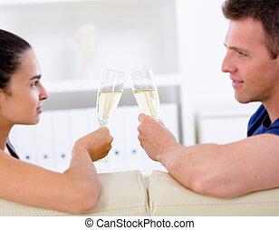 amour, couple, champagne, -, boire