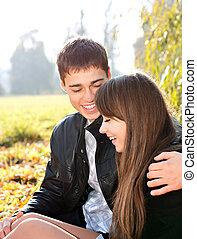 amour, couple, ensoleillé, avoir, automne, amusement, sourire, jour, heureux