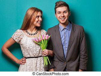 amour, couple, fleurs, tulipes, beau